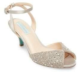 Betsey Johnson Royal Embellished Satin Ankle-Strap Sandals