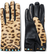 Valentino Embellished Leopard-print Calf Hair And Leather Gloves - Leopard print