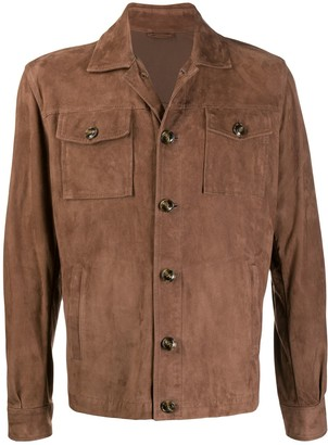 Barba Buttoned Suede Jacket