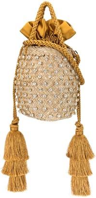 Le Nine Tassel Crystal-Embellished Bucket Bag