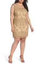Pisarro Nights Plus Size Women's Illusion Neck Beaded Cocktail Dress