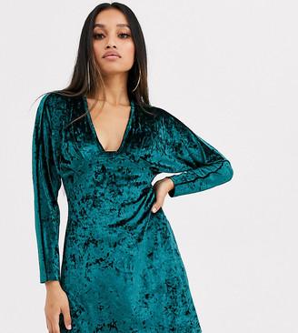 Asos DESIGN Petite Exclusive long sleeve plunge velvet mini dress