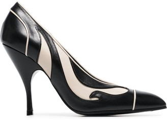 Bottega Veneta Black And Cream Curl 100 Leather Pumps