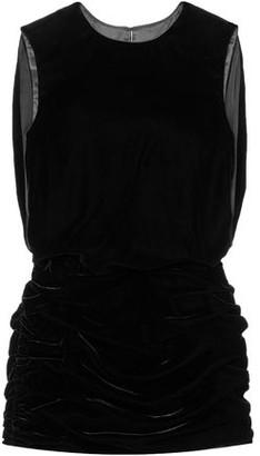 Saint Laurent Ruched Velvet Mini Dress