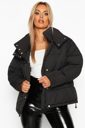 boohoo Plus Funnel Neck Puffer Jacket