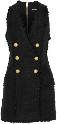 Balmain Button-embellished Tweed Mini Dress
