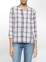 Calvin Klein Womens Lightweight Plaid 3/4 Sleeve Shirt