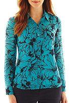 Liz Claiborne Long-Sleeve Print Blouse with Cami - Talls