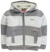 Lee Cooper Kids Boys Stripe Lined Knit Jacket Ribbed Hoody Warm Hooded Full Zip