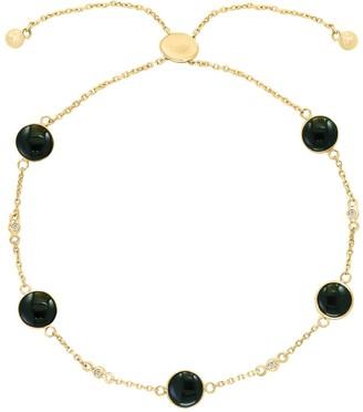 Effy 14K Yellow Gold Bezel Set Black Onyx & Diamond Station Adjustable Slide Bracelet