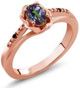 Gem Stone King 0.51 Ct Oval Green Mystic Topaz Black Diamond 14K Rose Gold Ring
