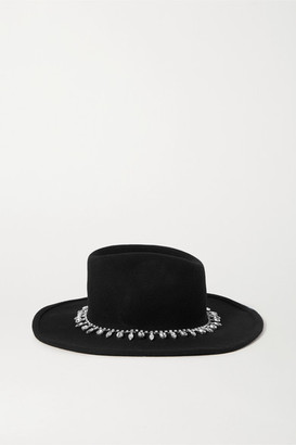 CLYDE Midnight Crystal-embellished Wool-felt Fedora - Black