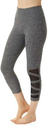 absolutely fit Women's Active Pants grey - Gray Space-Dye Mesh-Inset Tummy Control Capri Leggings - Women