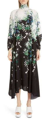 Givenchy Floral Print Long Sleeve Crepe Midi Dress