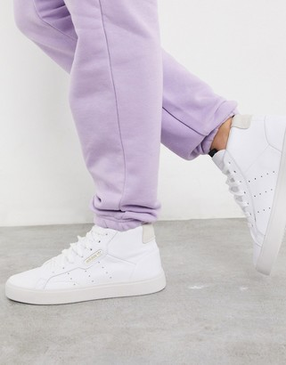 adidas Sleek Mid Top sneakers in white and grey