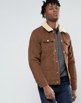 Pull&Bear Cord Jacket In Tan With Faux Sherling Collar