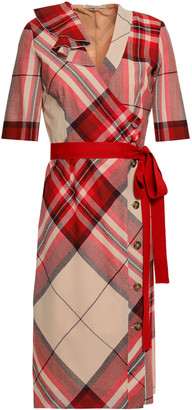 Marco De Vincenzo Wrap-effect Checked Wool Dress