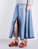 Maison Margiela Released-hem high-rise denim skirt