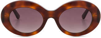 Balenciaga Oval Sunglasses in Blonde Havana & Burgundy | FWRD
