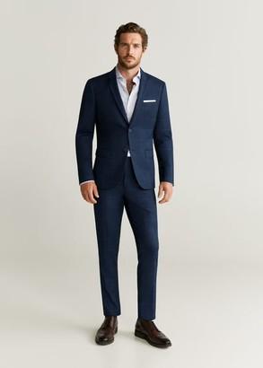 MANGO MAN - Super slim-fit checked Tailored blazer dark navy - 34 - Men
