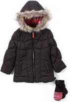 London Fog Black Puffer Coat - Toddler & Girls
