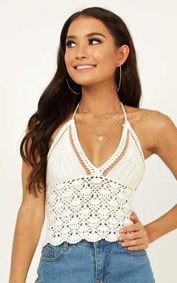 Showpo Clear Vision crochet top in white - 10 (M) Crop Tops