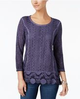 Style&Co. Style & Co Crochet-Hem Top, Created for Macy's