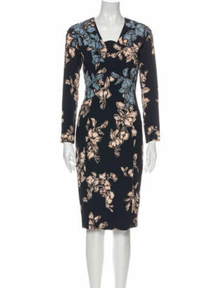 Marc Jacobs Floral Print Midi Length Dress Blue