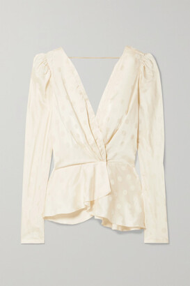 Johanna Ortiz Pale Young Eyes Wrap-effect Satin-jacquard Blouse - Ecru