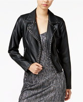 Bar III Studded Faux-Leather Moto Jacket, Only at Macy's