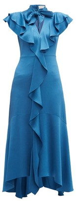 Peter Pilotto Ruffled Hammered-satin Dress - Blue