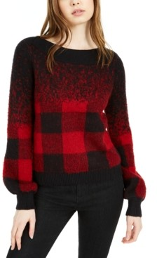 Bar III Buffalo Check Pullover Sweater, Created for Macy's