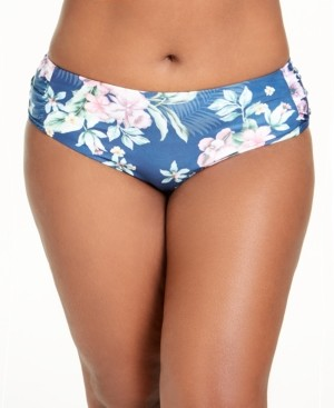 Becca Etc Plus Size Costa Rica Printed Hipster Bottoms Women's Swimsuit