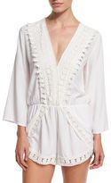 LaBlanca La Blanca Crocheted-Trim Long-Sleeve Romper Coverup