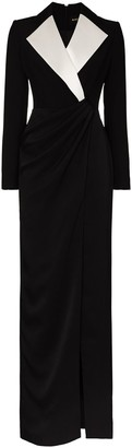 Rasario Contrast Collar Draped Detail Gown