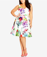 City Chic Plus Size Printed Fit & Flare Dress