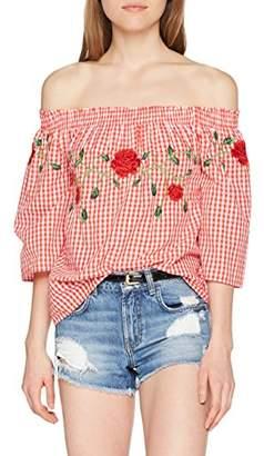 Vero Moda Women's Vmluna Off Shoulder Top D2-3 Vest, Multicoloured Checks: Poppy Red/Snow White, 12 (Size: Medium)