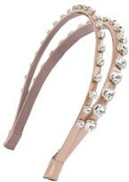 Miu Miu Women's Raso Swarovski Crystal Double Headband - Beige