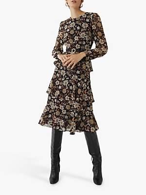 Warehouse Autumn Daisy Tiered Midi Dress, Neutral Print