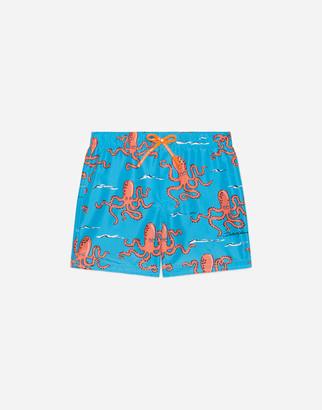 Dolce & Gabbana Nylon Swimming Trunks With Octopus Print