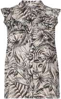 Dorothy Perkins Petite Pink Palm Print Ruffle Sleeveless Shirt