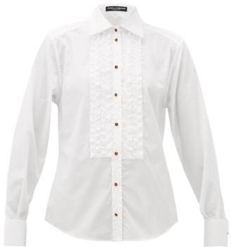 Dolce & Gabbana Ruffled Cotton-poplin Shirt - Womens - White