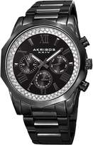 Akribos XXIV Men's Quartz Multifunction Crystal Accented Stainless Steel Bracelet Watch - AK999BK