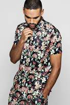 Floral Fruit Short Sleeve Satin Shirt