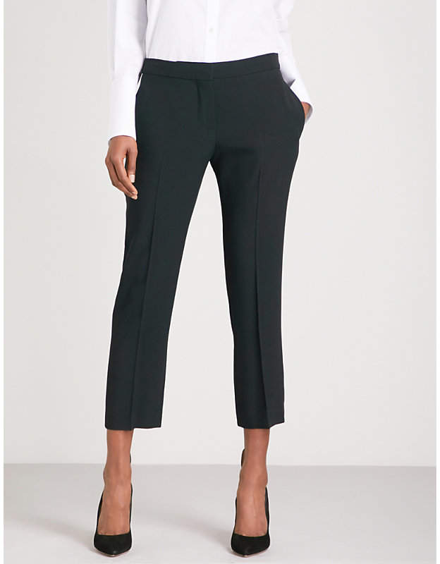 Alexander McQueen Tapered cropped mid-rise crepe trousers