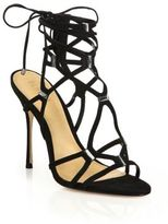 Schutz Akilah Caged Suede & Crystal Sandals
