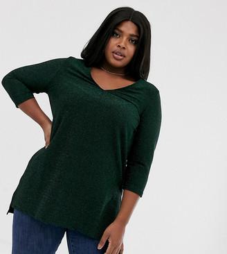 Junarose metallic tunic top-Green