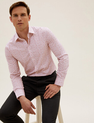 Marks and Spencer Slim Fit Pure Cotton Floral Shirt