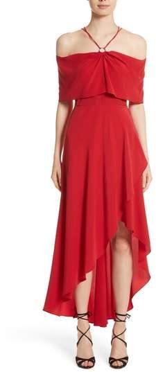Yigal Azrouel Cold Shoulder Silk Crepe Dress