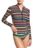 Stella McCartney Striped Notched-Hem Rashguard, Multicolor